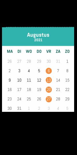 Kalender café Alloo augustus