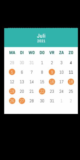 kalender juli tijdvoorvrijetijd